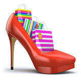 Shopping bags in women high heel shoes. Concept of consumerism.