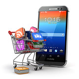 Mobile apps concept. Application software icons in shopping cart