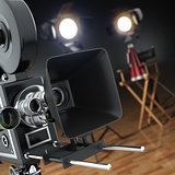 Video, movie, cinema concept. Retro camera, flash and director's