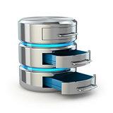 Database storage concept. Hard disk icon isolated on white.