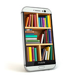 E-learning education or internet library concept. Smartphone and