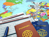 Travel insurance application form, passport and sign of destinat