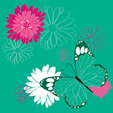 butterfly and flowers background