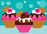 three pink cupcakes