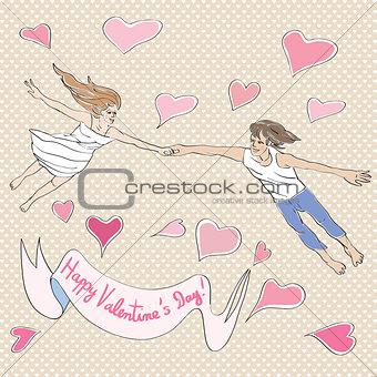 Valentine flying