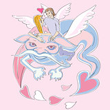 Valentine love dragon