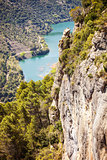 View of cliff and river flowing below near Siurana village in the province of Tarragona, Spain