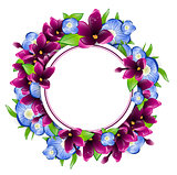 Lilac and Forget-me-not Flower Round Frame