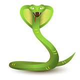 Angry cobra cartoon. Green snake