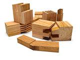 Sawed wood profile. Isolated
