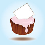 Vector cupcake with card for text