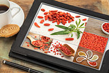 goji berry collage on tablet
