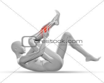 3D female figure holding leg in pain