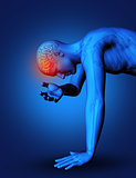 3D male figure with brain highlighted