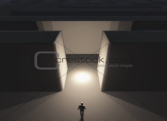 3D male figure in front of a maze