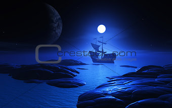 3D ship on a moonlit water