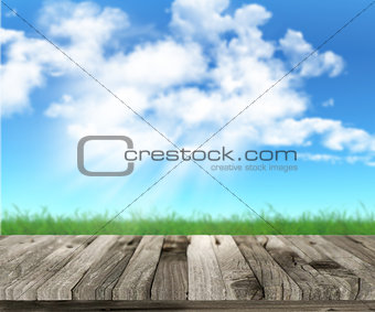 3D wooden table with grassy landscape