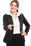 Business woman giving a handshake