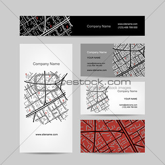 Sketch of city map, business card design