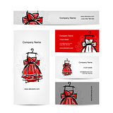 Business cards design, red dress