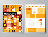 headline startup set of magazine cover , flyer, brochure flat de