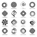 Spiral and rotation abstract icons.