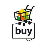vector logo basket with goods to buy