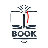 vector logo book and red bookmark