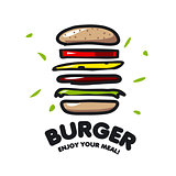 vector logo burger for fast food
