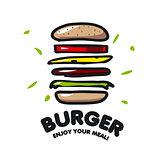 vector logo burger for fast food