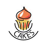vector logo Cake for menu cafe or restaurant