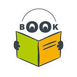 vector logo character with headphones reading a book