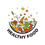 vector logo fresh vegetables for a healthy diet