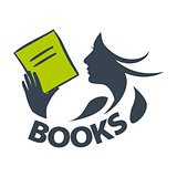 vector logo girl reading a book