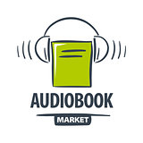 vector logo green book with headphones