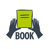 vector logo hand holding a book