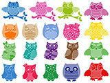 Set of nineteen ornamental owls