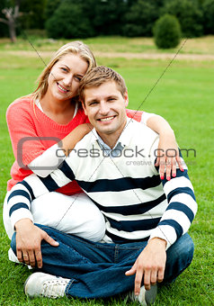 Adorable love couple, woman embracing her man