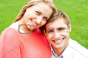 Close up shot of attractive love couple