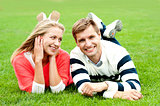 Romantic young couple outdoors in the park