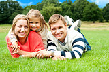 Joyous family in a park enjoying day out