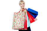 Vivacious woman holding colorful shopping bags