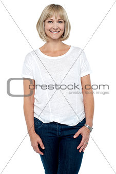 Casual portrait of fashionable caucasian woman