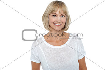 Casual portrait of smiling middle aged woman