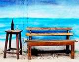Wooden bench and chair