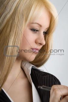 a secretary close up