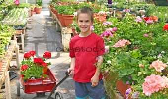 Boy Buying Flowers