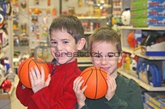 Boys Holding Basketballs