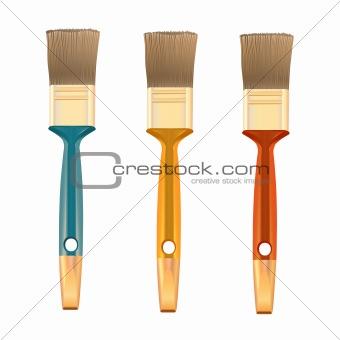 Three shiny brushes