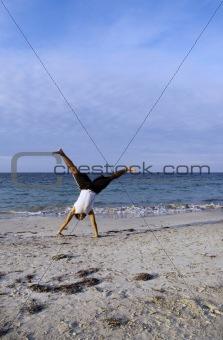 Boy doing acrobatics